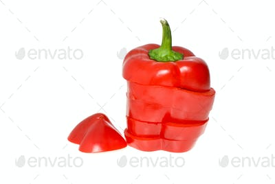 Sliced red sweet pepper