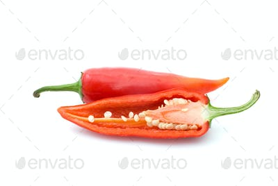 Whole and half red hot peppers