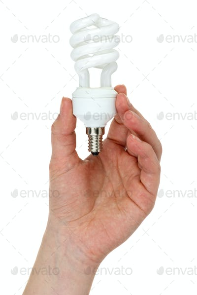 Hand holding compact spiral-shaped fluorescent lamp