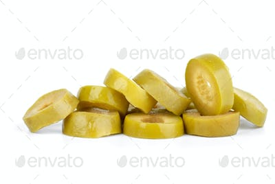Few sliced green olives