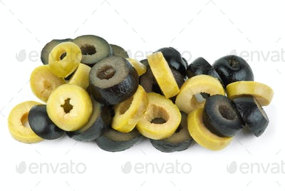 Sliced green and black olives