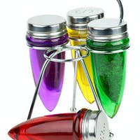Set of salt and pepper shakers and spice containers