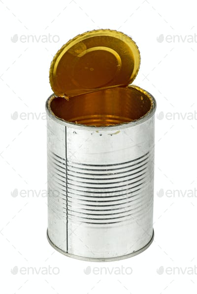 Opened empty tin can