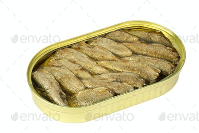Opened tin can with conserved sprat fish