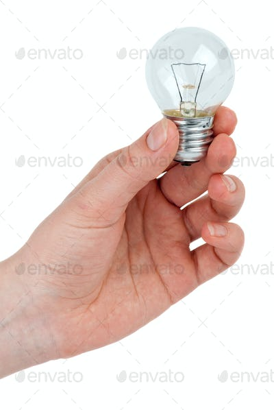 Small tungsten light bulb in hand