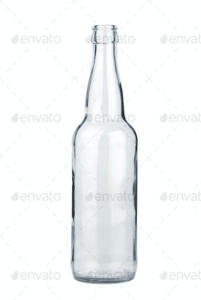 Empty transparent beer bottle