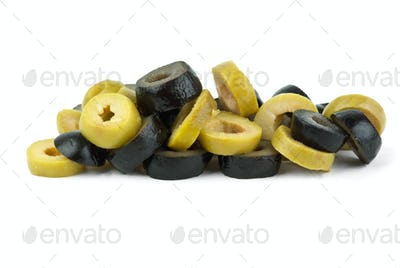 Small pile of sliced black and green olives