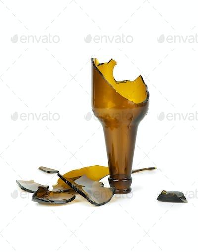 Smashed brown beer bottle