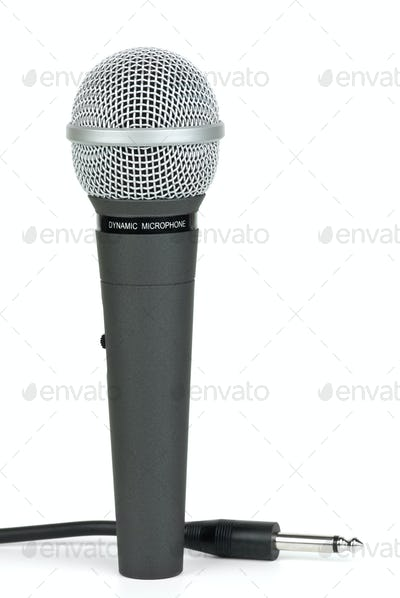 Professional dynamic microphone and cable with jack near
