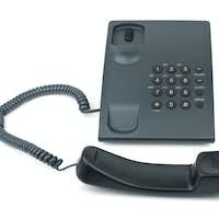 Black phone with handset near