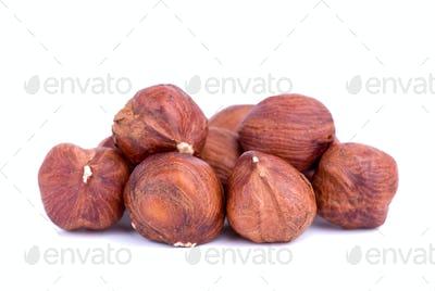 Close-up shot of some hazelnuts