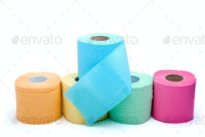 Different colored toilet paper