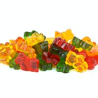 Some bear-shaped different colored fruit jellies