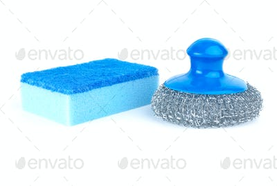 Metal scrub and blue sponge