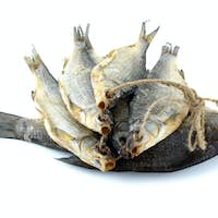 Five dried sea roach fishes on the rope and bream fish