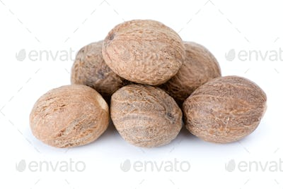 Close-up shot of few nutmegs