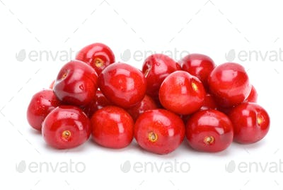 Pile of red cherries without stalks