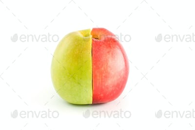 Half of red and green apples form a whole fruit