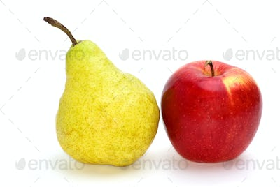 Red apple and yellow-green pear