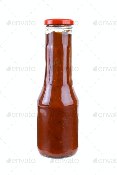 Bottle with piquant tomato ketchup