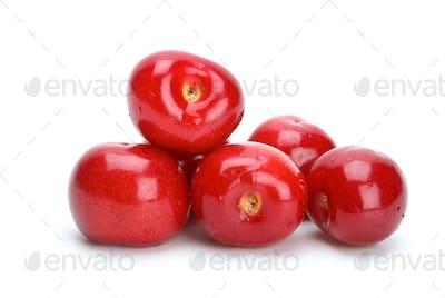 Some red ripe cherries