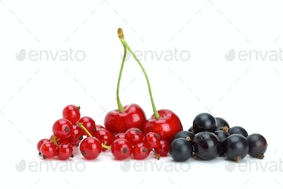 Redcurrants,blackcurrants and red cherries