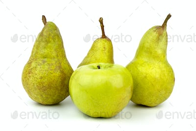 Green apple and three green pears