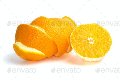 Half of an orange and some peel