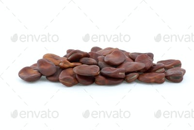 Small pile of dried brown beans
