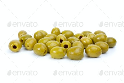 Some green pitted olives