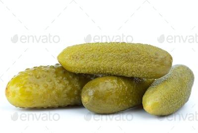Close-up shot of some marinated cornichons