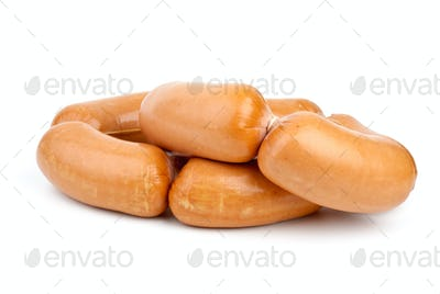 Pile of sausages isolated on the white background