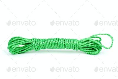 Green plastic rope reeling