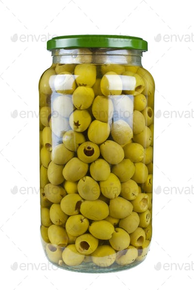 Glass jar with pitted green olives