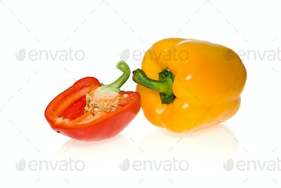 Yellow sweet pepper and half of red