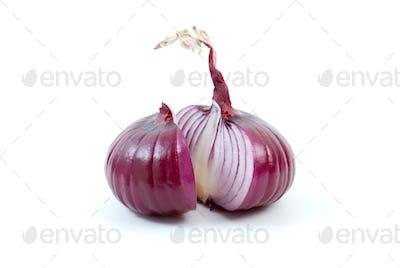 Purple onion sliced on half