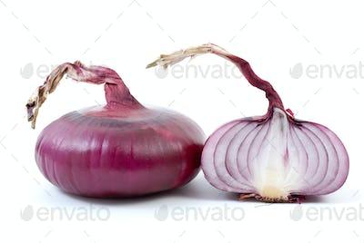 Purple onion and half