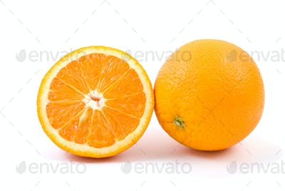 Orange. Whole and half