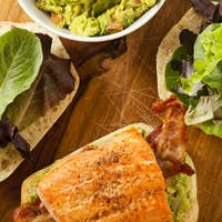 Grilled Salmon Sandwich with Bacon and Guacamole