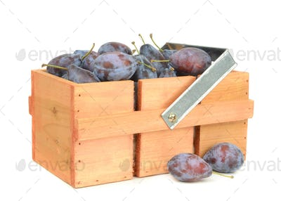 Box of Fresh Plums
