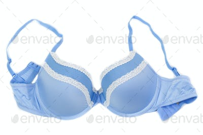 Blue bra isolated on white