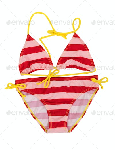 Red striped swimsuit with yellow straps