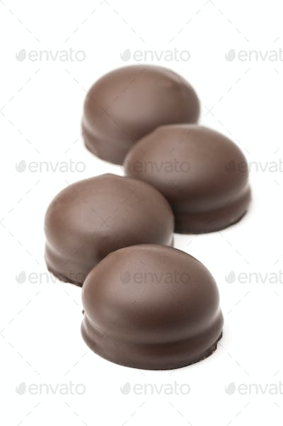 Chocolates , Isolated on white
