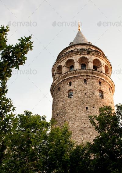 Ancient Galata Tower at Beyoglu region in Istanbul. Turkey.