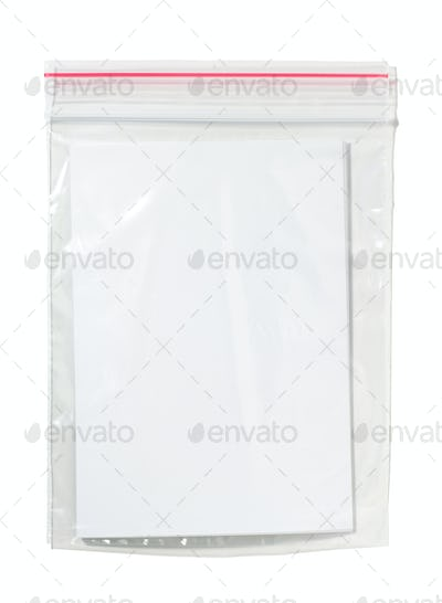 Blank card in Nylon bag , Isolated on white