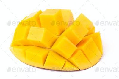 Mango Cubes On White