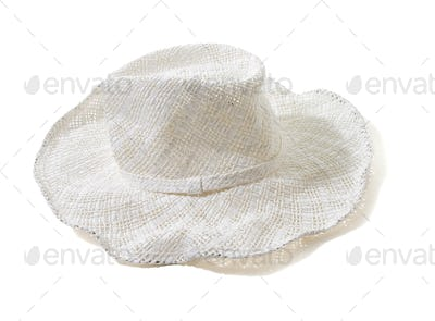 White straw woven floppy hat