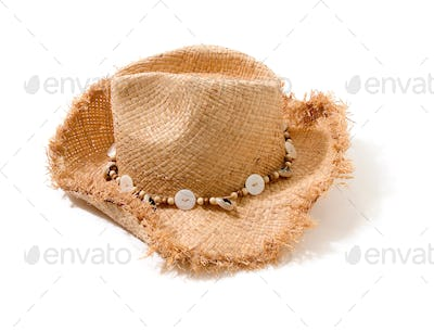 Raffia fringed farmer hat with beads and buttons hatband