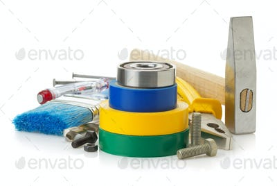 tools and instruments on white