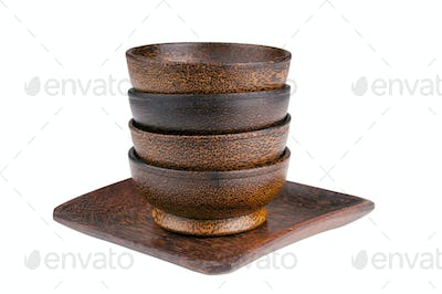 Wooden Bowls Isolated